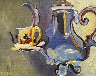 Small Abstract Still Life Oil Painting on Canvas