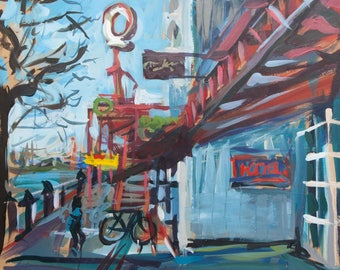 """Acrylic Cityscape Painting on Paper // Lonsdale Quay (Vancouver no. 68) // 13"""" x 13"""" // Original painting by Joanne Hastie"""
