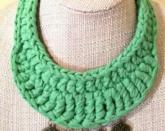 Green Crochet Statement Necklace, T-shirt Yarn