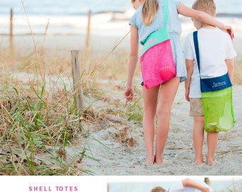 Shell Collecting Bag, Shell Tote, Personalized Bags for Kids, Sea Shell Bag, Mesh Shell Bag