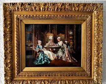 Sale Antique Oil Painting Italian Rococo Interior Scene Portrait of Three Women Gold Frame Signed O/C Art European Genre Home Decor