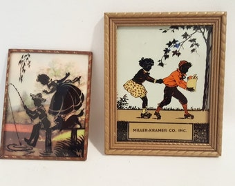 Vintage Reversed Glass Painted Silhouettes Children Playing Glass Painted Prints Framed Children's Silhouettes 1940 Framed Colred Prints