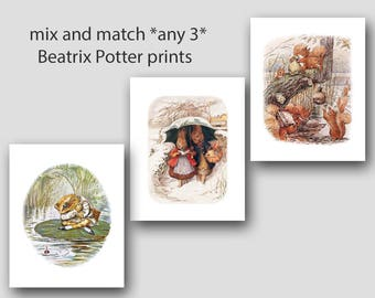 Beatrix Potter Prints, Baby Shower Gift (Peter Rabbit Nursery Wall Art) 5x7 or 8x10 Artwork --- Set of 3