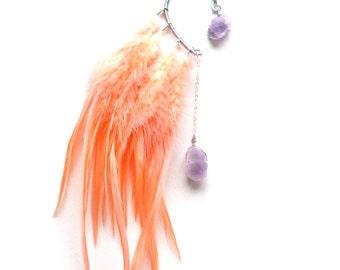 Feather Ear Cuff, Ear Cuff, Feather Earrings, Festival Earrings, Amethyst