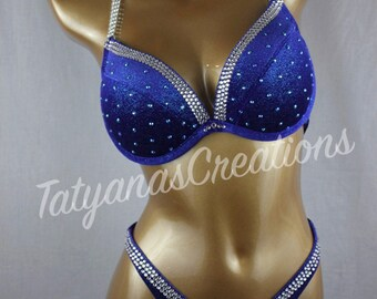 In Stock : Blue Glitter Velvet Figure Competition Suit D cup, Small bottom.