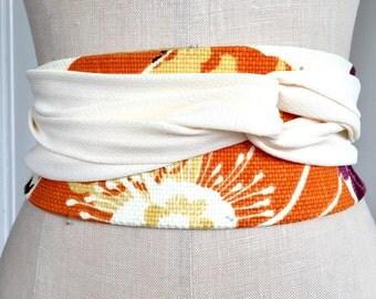 Bright linen obi , print obi belt sash, orange print obi, ivory crepe obi sash belt, reversible linen belt, reversible fabric belt