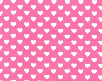 SHOP CLOSING SALE Michael Miller fabric for quilt or craft Hearts All Over in Raspberry Half Yard