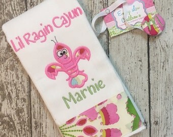 Baby Gift Set -  Burp Cloth and Pacifier Clip - Ragin Cajun - Crawfish - Personalized