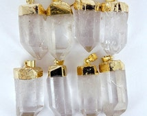 10% off SALE Crystal Quartz Point Pendant with Gold Electroplate WHOLESALE PRICING 1, 3, 5, 10, 20, 50, 100  plus crystals