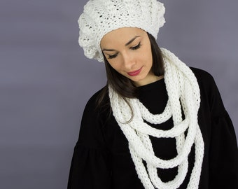 Slouchy Crochet beanie cap knit hat beret white gift for her fall winter accessories