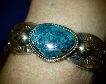 Sterling Silver Turquoise Cuff Bracelet  signed