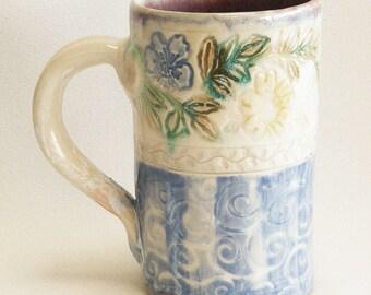 ceramic floral coffee mug 16oz  stoneware 16B095