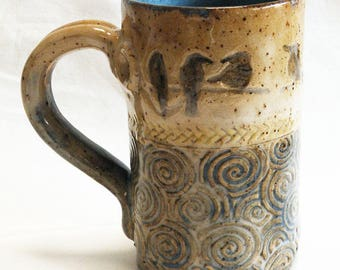 Ceramic birds on a branch coffee mug 16oz. stoneware 16D041