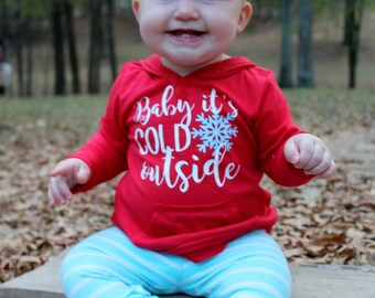 YOUTH S-XL Sizes-Baby it's cold outside - Girl's Lightweight Hoodie - Christmas hoodie -Monogrammed hoodie -Girl's Pullover -Christmas shirt