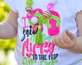 Flip Flop Applique Summer shirt - M2M Applique Design - Summer Applique shirt