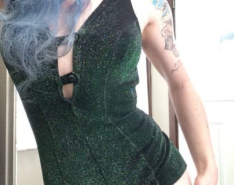 Glam and Glitz in this Emerald Green Swimsuit