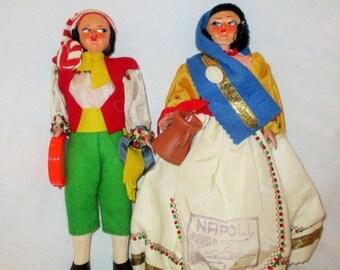 New Years SALE 20% OFF Vintage Pair of Magis Napoli Italian Dolls