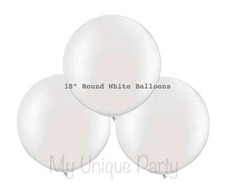 "White Balloons 18""Round Latex / Helium Quality / Set of 4 Balloons"