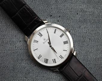 Mens Larger sized Bulova Quartz Watch Black leather strap roman numerals running perfectly