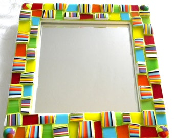 Striped China and  Stained Glass MOSAIC Accent Mirror