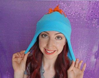 Mr Meeseeks Fleece Winter Hat, Cosplay, Unique Christmas Gift, Novelty Costume Hat, Blue, Earflap Character Hat