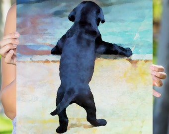 Cute Puppy Watercolor Art Print Poster - 5 Sizes On Enhanced Matte Paper