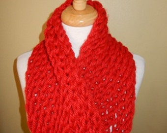 Womens Scarf Hand knitted Scarf Cowl Winter Fashion Accessories Women Infinity Scarf Chunky Scarf in Red - Choose color