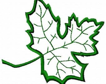 Leaf Applique Machine Embroidery Design - Instant Download