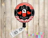 Happy Pill - Personalized - Red and White - Pharmacy Tech  Glitter Chevron - Button Badge Reel Retractable ID Holder Alligator or Slide Clip