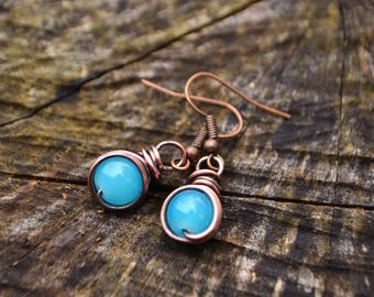 Antiqued Copper Wire Wrapped Caribbean Blue Turquiose Glass Earrings Handmade Simple Elegant Rustic