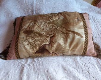 Antique French silk embroidery boudoir pillow cushion w hand embroidered bird flowers gold fringes decorative pillow needle craft needlework