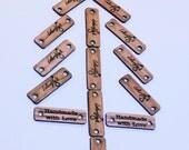"""Custom Wood Tags, Branding Tags, Logo Tags, 1.2"""" x 0.4"""" (30x10mm)"""