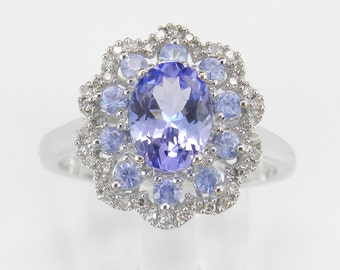 Diamond and Tanzanite Flower Cluster Engagement Ring 14K White Gold Size 7