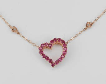 "Ruby and Diamond Heart Necklace Rose Pink Gold Pendant 17"" Chain Wedding Love Gift"