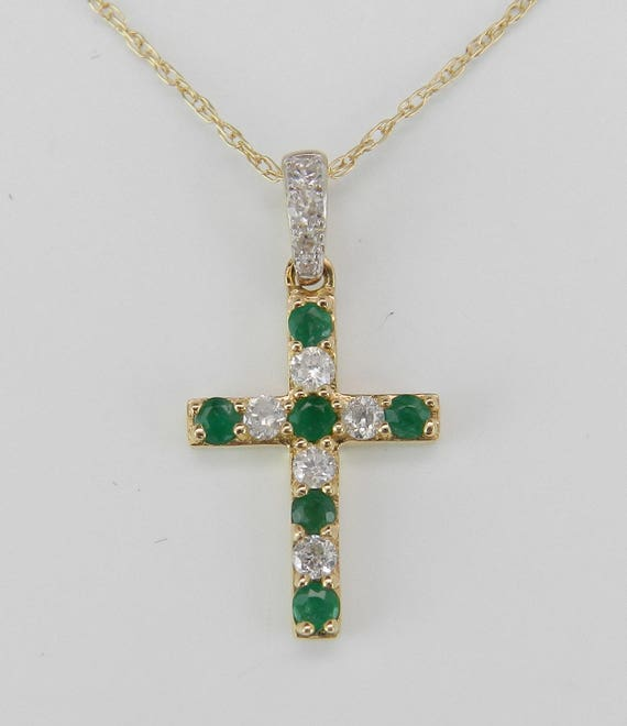 """Emerald and Diamond CROSS Pendant Necklace 14K Yellow Gold 18"""" Chain Religious Charm"""