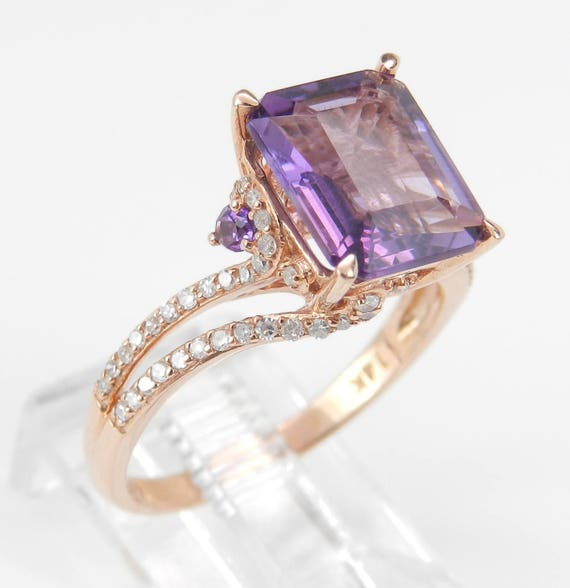 Diamond and Emerald Cut Amethyst Engagement Ring 14K Rose Gold Size 7.25 February Birthstone
