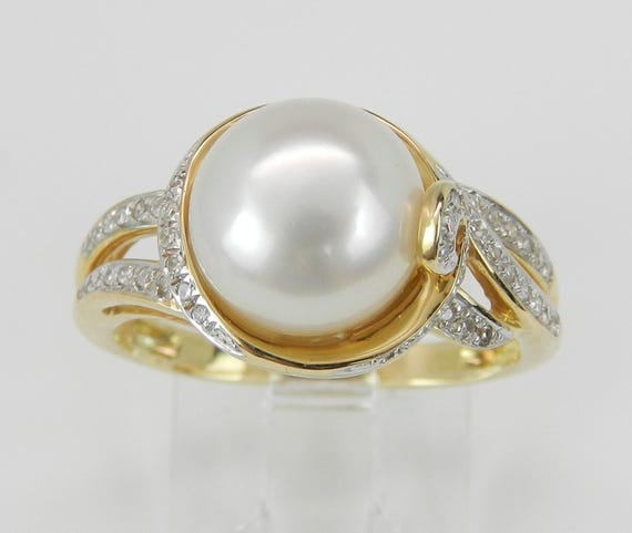 14K Yellow Gold Diamond and Pearl Engagement Ring Size 7 June Birthstone Ring