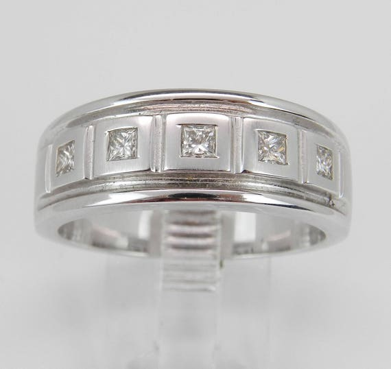 Mens Princess Cut Diamond Wedding Ring Anniversary Band White Gold Size 10.75