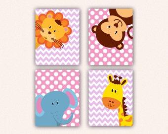 Jungle Animal Nursery Print Set - Elephant Monkey Giraffe Lion Kids Bedroom Art, Chevron and Polka Dot Safari Decor in Pink & Lilac (5008)