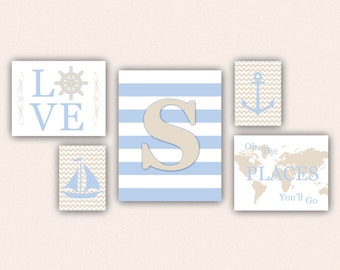 Nautical Nursery Print Set - Cream & Baby Blue Anchor, Sail Boat, Love, World Map, Oh the Places You'll Go on Chevrons, Stripes (5001)