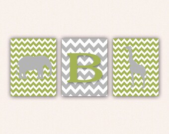 Chevron Elephant Monogram and Giraffe Print Set - Bright Green and Gray Wall Art - Zoo or Jungle Nursery Art (5005)