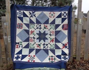 Star Sampler Navy bed size patchwork quilt, Large quilt 0324-02