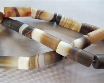4CT, Brown Agate - Brown 8*20mm Cylinder shape beads (S35A)