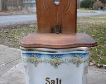 great shape clean vintage antique 1920s 1930s floral GERMANY porcelain and wood wall MOUNT SALT box
