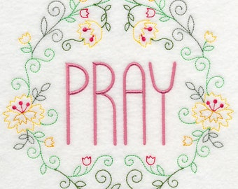 Pray Wreath Embroidered on Kona Cotton Quilt Block // Plain Weave Cotton Dish Towel // Also Available on Other Items