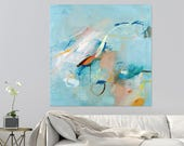 Modern Canvas art Large City Art 32x32 Teal painting with copper and white large painting abstract art by Duealberi