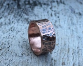 Hammered Copper Band - Rustic Earthy Men's / Women's / Unisex Wide Wedding Ring -  Earthy Modern Bohemian Jewelry - Custom Stamped