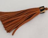 Cognac Leather Tassel  Brown Fringe Tassels Charm Leopard Print Hair on Hide  Genuine Leather