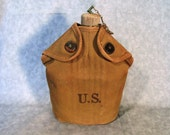 WW II Era Military Army Canteen with Cup / Army Water Container