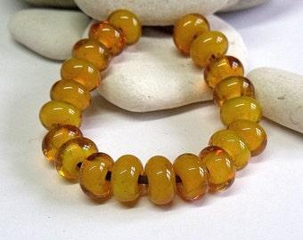 Lemon Gel, Lampwork Spacer Beads, SRA, UK